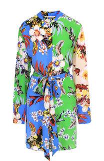 Шелковое платье-рубашка с поясом и принтом Diane Von Furstenberg
