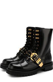 Высокие кожаные ботинки с декоративным ремешком Versace