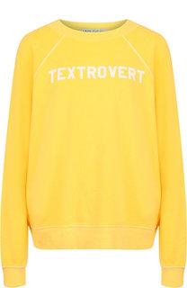 Хлопковый пуловер с круглым вырезом и надписью Wildfox