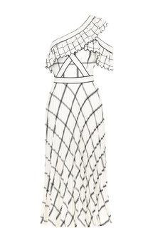 Приталенное платье-миди с открытым плечом и принтом self-portrait