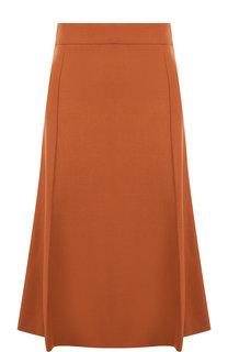 Однотонная юбка-миди из шерсти Chloé