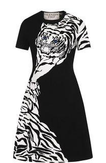 Приталенное мини-платье с принтом Valentino