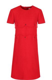 Однотонное мини-платье из смеси шерсти и шелка Valentino