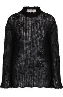 Вязаный пуловер с декоративной отделкой в виде звезд Valentino