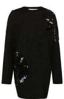 Шерстяной пуловер свободного кроя с пайетками Valentino