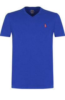 Хлопковая футболка с V-образным вырезом Polo Ralph Lauren