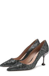 Туфли с глиттером на декорированном каблуке Miu Miu
