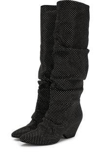 Текстильные сапоги с отделкой на фигурном каблуке Vic Matie