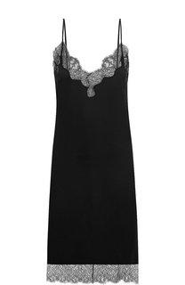 Однотонное платье-комбинация с кружевной отделкой Valentino
