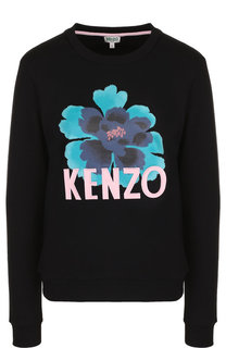 Хлопковый пуловер с круглым вырезом и логотипом бренда Kenzo