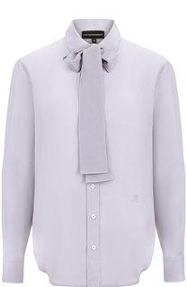Шелковая блуза с воротником аскот Emporio Armani