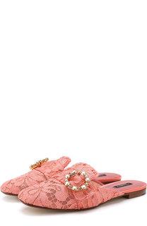 Кружевные сабо Jackie с декорированной пряжкой Dolce & Gabbana