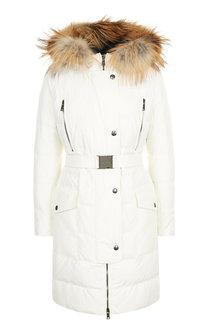 Стеганое пальто с поясом и меховой отделкой Roberto Cavalli