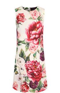 Шерстяное мини-платье с цветочным принтом Dolce & Gabbana