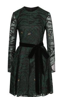 Приталенное мини-платье с поясом Valentino