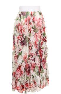 Шелковая юбка-миди с оборками и принтом Dolce & Gabbana