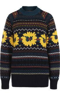 Шерстяной пуловер с декоративной вышивкой и открытой спиной Sacai