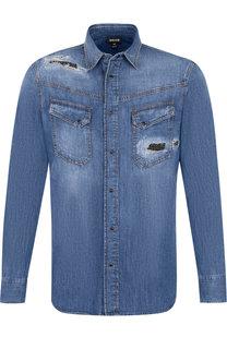 Джинсовая рубашка с потертостями на кнопках Just Cavalli