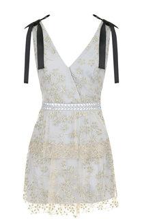 Приталенное мини-платье с металлизированной нитью и контрастными бантами self-portrait