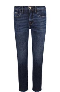 Укороченные джинсы с потертостями и бахромой Frame Denim