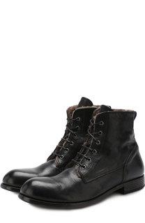 Высокие кожаные ботинки с внутренней меховой отделкой на шнуровке Moma