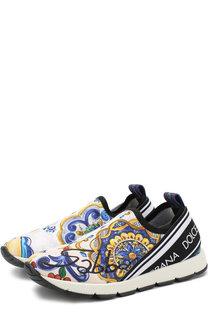 Текстильные кроссовки без шнуровки Dolce & Gabbana