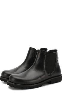 Кожаные ботинки на молнии с эластичной вставкой Dolce & Gabbana