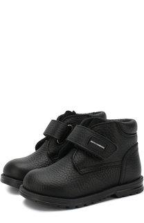 Кожаные ботинки с внутренней меховой отделкой и застежками велькро Dolce & Gabbana
