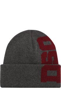 Шерстяная шапка с логотипом бренда Dsquared2
