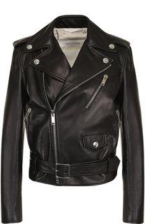 Кожаная куртка с поясом и косой молнией Valentino