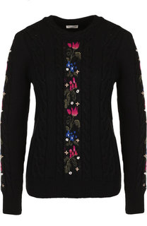 Вязаный шерстяной пуловер с декоративной вышивкой Saint Laurent