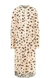 Шелковое платье-миди свободного кроя с принтом Marni