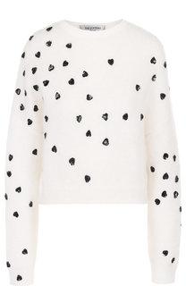 Пуловер с круглым вырезом и декоративной отделкой Valentino