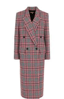 Двубортное шерстяное пальто в клетку Michael Kors Collection