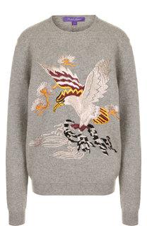 Кашемировый пуловер с круглым вырезом и декоративной вышивкой Ralph Lauren