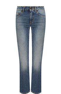 Укороченные джинсы с потертостями Saint Laurent