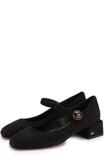 Замшевые туфли с фигурным каблуком Dolce & Gabbana