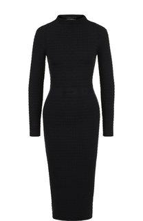 Приталенное платье-миди с воротником-стойкой Emporio Armani
