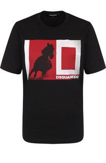 Хлопковая футболка с круглым вырезом и принтом Dsquared2