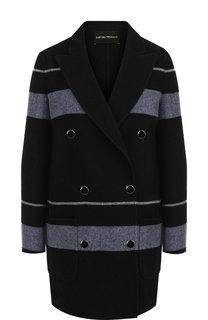 Двубортное пальто из смеси шерсти и кашемира с накладными карманами Emporio Armani