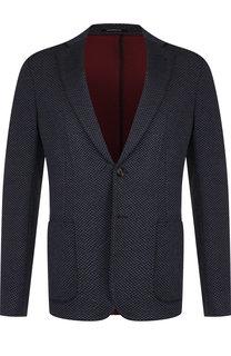 Однобортный пиджак из вискозы на двух пуговицах Emporio Armani