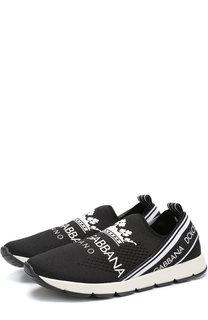 Текстильные кроссовки с перфорацией и логотипом бренда Dolce & Gabbana