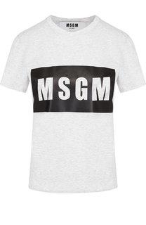Хлопковая футболка с круглым вырезом и принтом MSGM