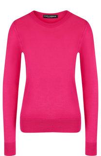 Однотонный шелковый пуловер с круглым вырезом Dolce & Gabbana