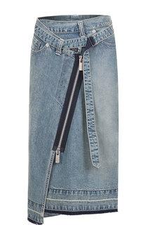 Джинсовая юбка-миди асимметричного кроя Sacai