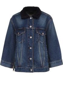 Джинсовая куртка с потертостями и накладными карманами Sacai
