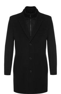 Однобортное шерстяное пальто с подстежкой HUGO