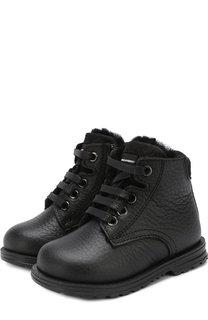 Кожаные ботинки на шнуровке с внутренней меховой отделкой Dolce & Gabbana