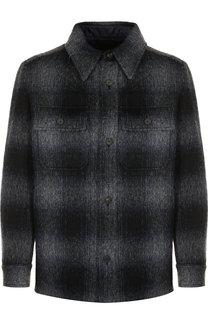 Шерстяная куртка в клетку на пуговицах Brioni