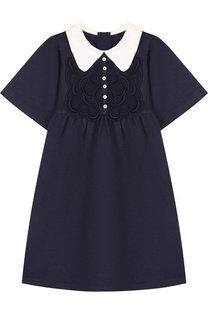Платье с кружевной отделкой и контрастным воротником Chloé
